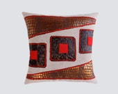 "Decorative pillow case, Upholstery fabric with Red, Brown, Copper accent Throw pillow case, fits 18"" x18"" insert, Cushion case, Toss case"