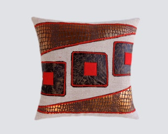 """Decorative pillow case, Upholstery fabric with Red, Brown, Copper accent Throw pillow case, fits 18"""" x 18"""" insert, Cushion case, Toss case"""