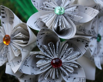 50 sheet music flowers - origami kusudama flowers made from recycled sheet music