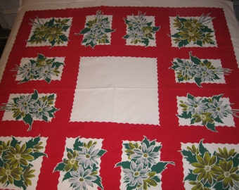 """Vibrant red, white and green 50 by 52"""" summer tablecloth by Simtex"""