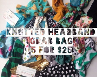 Surprise grab bag of 5 knotted headband/baby headwrap/infant/turban/adult head wrap/