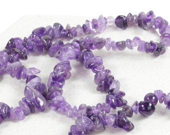 35 inch Natural Dark Purple Amethyst Gemstone Chip Beads - 5-8mm Chips