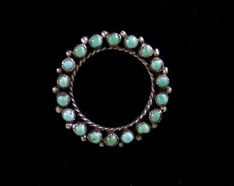 Authentic Vintage Oxidized Sterling Silver and Turquoise Round Brooch Circa 1960s Created By Native American Artisan