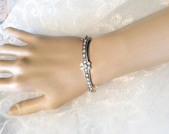 Art Deco inspired bracelet pearl bracelet bridal bracelet bridal accessories wedding bracelet rhinestone silver pearl bracelet wedding