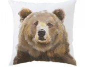 Bear Pillow - Grizzly Pillow - Grizzly Bear - Woodland Pillow - Bear Art - Bear Painting - Brown Bear Art - Woodland Pillow Cover