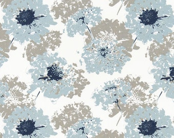 Two 26 x 26 Custom Designer Decorative Euro Pillow Covers - Abstract Floral Splash - Grey/Blue