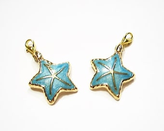 2 Gorgeous, Turquoise Blue, Luster Finish Enamel, Gold Plated Starfish, Charms on LOBSTER CLASPS, Sea Star
