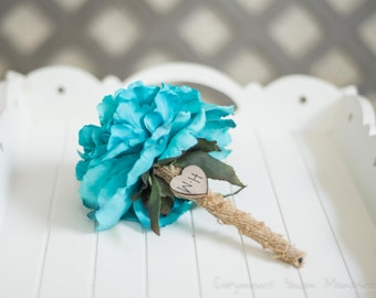 Burlap Guest book pen select flower showing torqouise  flower peony pen
