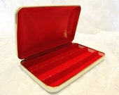 Mele Vintage Jewelry Box Earring Case - Red Velvet interior Brass Trim 1960s