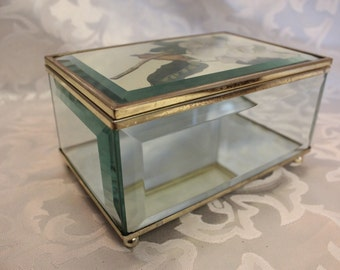 Vintage Beveled Glass Trinket Box With Lotus Flower