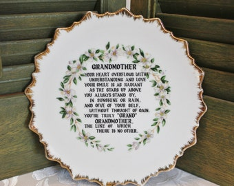 Porcelain Gold Rim Wall Plate - Love Grandma Grandmother Poem