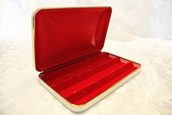 Mele vintage jewelry box earring case red velvet interior for Red velvet jewelry gift boxes