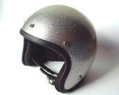 Vintage Silver Metalflake Motorcycle Helmet, Size Medium 7-7 1/4, 1966 Safety Standard Sticker