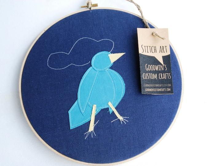 Quilted Fiber Art Hoop, Mini Art Project, Hoop Art, Stitch Art, OOAK Wall Hanging - Blue Oxpecker Bird, Rhino Bird