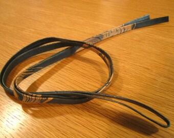 Vintage Dark Green / Beige Marbling Genuine Leather Japanese Obi-jime Obi Tie Cord.