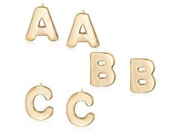 Gold Initial Stud Earrings, Alphabet Earring Post, 14K gold plated, Monogram Earrings,Initial Earring Posts