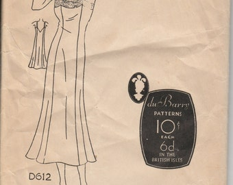 1930's Sewing Pattern DuBarry D 612 Fitted Slip size 32