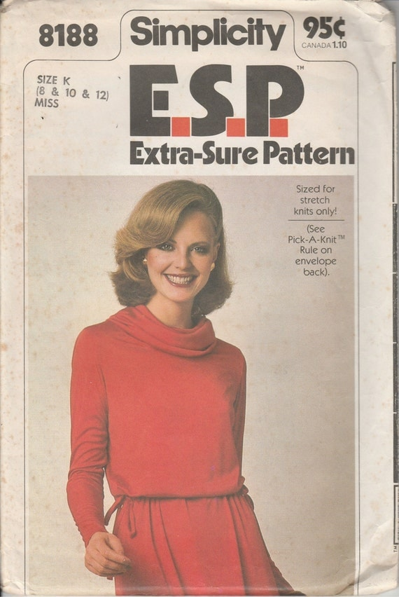 1970's Printed Sewing Pattern Simplicity 8188 misses pullover dress size 8-10-12