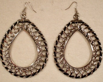 6 Pair Silver Tone Tear Drop Earrings NEW