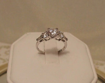 Sterling Silver Diamante Engagement Ring