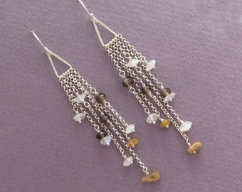 Long Dangle Earrings - Multi Chain Earrings with Natural Gems - Sterling Silver
