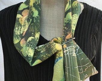 Vintage kimono silk, cravat style scarf  FREE SHIPPING