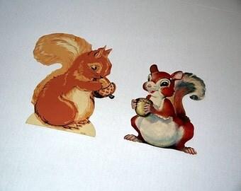 2 Vintage die cut squirrel decoration / 50s Dennison wall decor / craft scrapbook ephemera fall