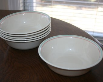 Vintage Corelle Corning Forever Yours Pattern Set of Six 6 Cereal Soup Bowls Pink Green Ivory Cream Beige