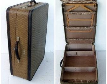Wardrobe Luggage Gentlemens Suitcase Air Line Newark NJ Large Tweed Leather