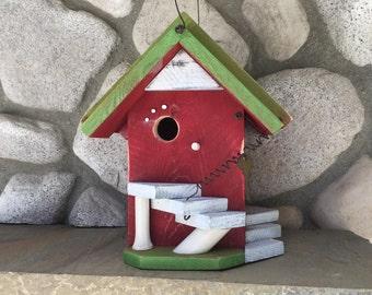Red Birdhouse Functional For Garden Birds, Birdhouses Outdoor Gardening Tools, Bird Supply, Rustic Bird Houses, Item#BH21619