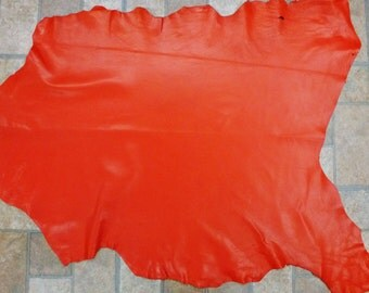 Leather 5 to 6 sq ft Bright Orange Shiny Finished Fine Grained Goatskin (SIMILAR, but not this hide) 2-2.25 oz /0.8-0.9 mm PeggySueAlso™