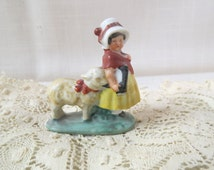 Vintage Mary And Her Little Lamb Nursery Rhyme Germany Bone China Porcelain Figurine Hand Painted