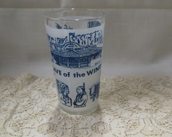 Cave Of The Winds Souvenir Tumbler Glass Vintage Frosted Glass Kitchenware Kitchen Ware