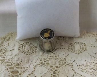 Gilroy, California It's Chique To Reek Garlic Souvenir Thimble Silver Plate