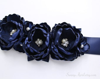 Navy Sash/ Bridal Wedding Ribbon Sash/ Handmade Accessory