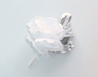 White or Ivory Silver Rose Boutonniere/ Wedding Lapel Pin/ Handmade Rustic Wedding Accessory