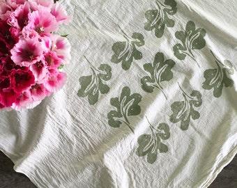 Woodland Natural Kitchen Towel. Cotton Towel. Housewarming Gift. Earth Friendly Towel. Flour Sack Towel. Tea Towel. Small Print Tablecloth.