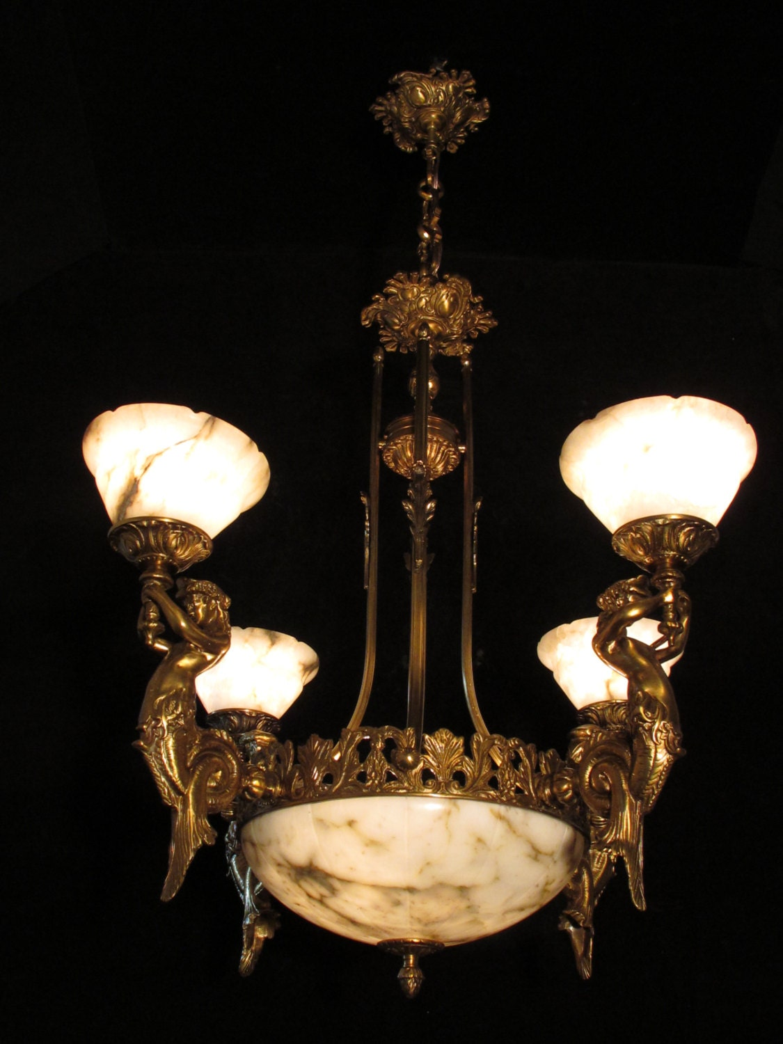 Chandelier bronze and real white alabaster with mermaid sculptures chandelier bronze and real white alabaster with mermaid sculptures by sergio merlin arubaitofo Choice Image