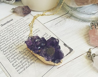 Stellar wind Natural Crystal Gold Chain Necklace Quartz Gemstone Amethyst