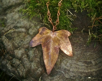 Real Ivy Leaf & Natural Golden Patina Copper Necklace