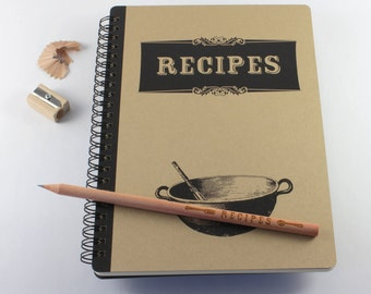 "Large Notebook ""Recipes"", Spiral Bound Notebook"