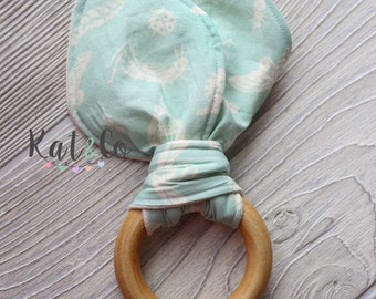 Sale!  Mint bugs Organic bunny ear teether ring toy with crinkle material.  Ready to ship.