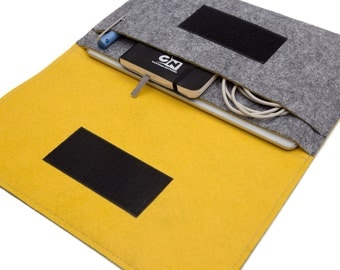 "12.9"" inch iPad Pro Case, iPad Pro 10.5"" Bag, iPad Air 2 case, iPad 9.7"" Cover - Gray & Yellow - Weird.Old.Snail"