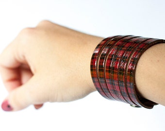 Leather Bracelet / Original Sliced Cuff / Plaid