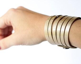 Leather Bracelet / Original Sliced Cuff / Cleopatra