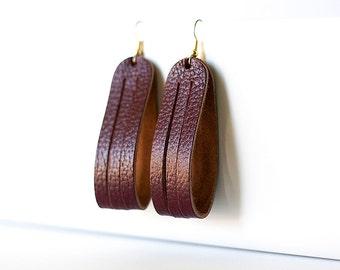 Leather Earrings / Sliced Leather / Cherry Cobbler