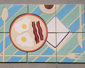 Breakfast Backsplash Bacon Eggs & Coffee Handmade Tile Original mosaic for kitchen