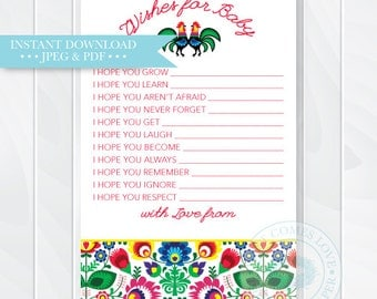 Fiesta Wishes for Baby Shower Printable, Fiesta Baby Advice Cards, Wishes for Baby Boy, Baby Wishes Card, Baby Shower Game, Instant Download