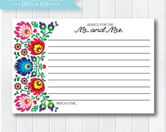 Fiesta Bridal Shower Advice Cards, Advice for the Mr. and Mrs., Bridal Shower Decorations, Mexican Shower, Printable, Instant Download