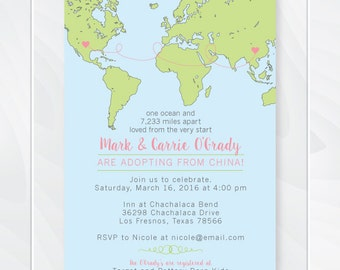 international adoption baby shower invitation custom adoption announcement invite miles apart loved from the - Adoption Party Invitations